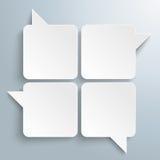 4 White Rectangle Speechbubbles Stock Photo