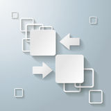 White Rectangle Squares 2 Options Arrows. Infographic design with white rectangle squares on the grey background. Eps 10  file Royalty Free Stock Images
