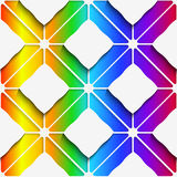 White rectangles ornament on rainbow background seamless pattern Stock Photo
