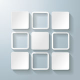 White Rectangles Squares Design 5 Options. Infographic design with white rectangle squares on the grey background. Eps 10  file Stock Image