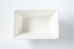 White rectangular bowl Royalty Free Stock Image