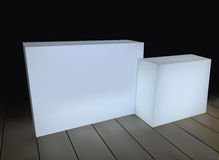 White rectangular boxes on a black background Royalty Free Stock Photography