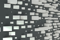 White rectangular shapes of random size on black background. Wall of cubes. Abstract background. 3D rendering illustration Royalty Free Stock Images
