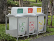 White recycle bins. Royalty Free Stock Image