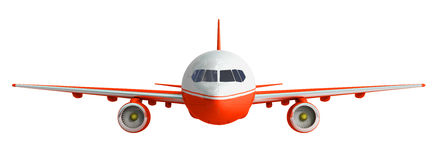 White and red airplane 3d rendering on white background Stock Photography