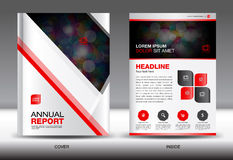 White and red Annual report template,White cover design,brochure Stock Photo