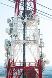 Metal antenna with many repeaters on the antenna stock photo