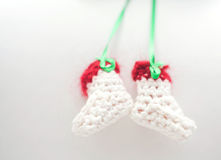White and red baby booties Stock Image