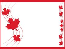 Red background Canadian leaves and line wave frame. White red background Canadian leaves and line wave frame stock illustration