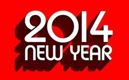 White 2014 on red background. Illustration for New Year and Christmas Royalty Free Stock Photo