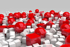 White and red balls and cubes. 3D render image vector illustration