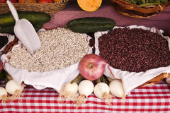 White and red Basque beans Stock Photo
