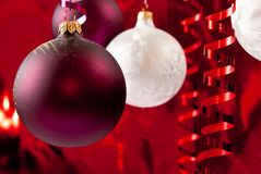 White and red baubles Stock Photos