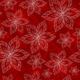 White and red big flowers on a red background vector seamless ab. Stract hand-drawn pattern Vector Illustration
