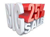 White red big sale sign PERCENT 25 3D. Render illustration isolated on white background Royalty Free Stock Photos