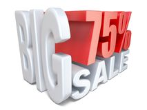 White red big sale sign PERCENT 75 3D. Render illustration isolated on white background Royalty Free Stock Photo