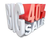 White red big sale sign PERCENT 40 3D. Render illustration isolated on white background Stock Image
