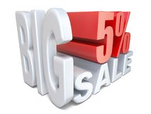 White red big sale sign PERCENT 5 3D. Render illustration isolated on white background Royalty Free Stock Images