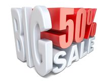 White red big sale sign PERCENT 50 3D. Render illustration isolated on white background Stock Photography