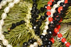 White, red, black, green and yellow beads on a conifer branch. Decorations of pine branches, white pearls, zircon beads, red corals for the new year Russia royalty free stock image