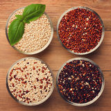 White, red, black and mixed raw quinoa grain Royalty Free Stock Images