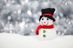 White Red and Black Snowman Royalty Free Stock Image