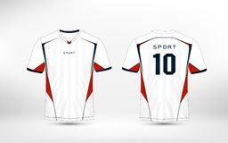 White, red and blue pattern sport football kits, jersey, t-shirt design template. Illustration vector vector illustration