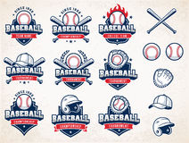 White, red and blue Vector Baseball logos. Collection of nine colorful Vector Baseball logo and insignias, presented with a set of baseball equipment royalty free illustration