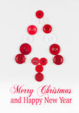 White and red buttons tree christmas background, isolated on white with copy space Stock Photos