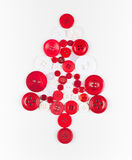 White and red buttons tree christmas background, isolated on white with copy space. Unusual christmas tree design, white and red buttons tree christmas Stock Images