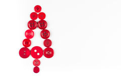 White and red buttons tree christmas background, isolated on white with copy space. Unusual christmas tree design, white and red buttons tree christmas Stock Photography