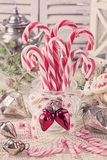 White red candy canes Royalty Free Stock Images