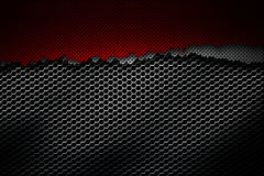 White and red carbon fiber tear on the black metallic mesh. Background and texture. 3d illustration Royalty Free Stock Images