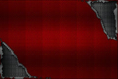 White and red carbon fiber tear on the black metallic mesh. Background and texture. 3d illustration stock illustration