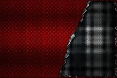 White and red carbon fiber tear on the black metallic mesh. Background and texture. 3d illustration royalty free illustration