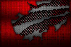 White and red carbon fiber tear on the red metallic mesh. Background and texture. 3d illustration Royalty Free Stock Photography