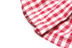The white and red checkered cloth. On white background Royalty Free Stock Image