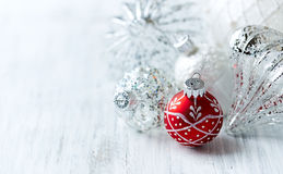 White and red Christmas balls Stock Photos