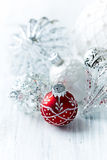 White and red Christmas balls Stock Images