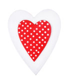 White and red christmas heart isolated, for greetings Valentine`s day Stock Photography