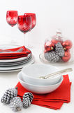 White and red christmas setting Stock Photo