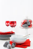 White and red christmas setting Stock Photos
