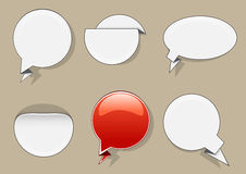 White and red circle banners. Set of six white and red circle banners Royalty Free Stock Image