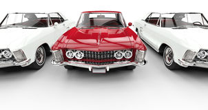 White And Red Classic American Cars Stock Photography