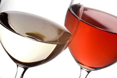 White and red close. Close-up of a glass of red and a glass of white wine Stock Photo