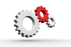 White and red cogs and wheels. On white background Stock Photos