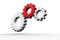 White and red cogs and wheels. On white background Royalty Free Stock Images