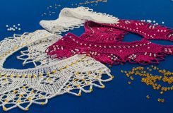 Knitted from woolen yarn collar beaded Royalty Free Stock Photos