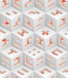 White red cubes isometric seamless pattern. Vector tileable background. Blockchain technology concept stock illustration