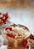 White and red currants and yogurt Stock Image
